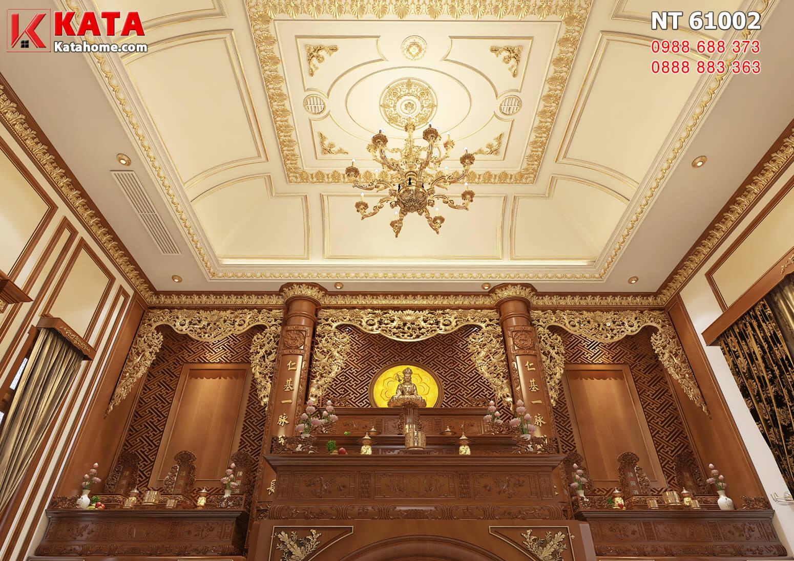 Hình ảnh: Không gian phòng thờ bao gồm bàn thờ phật và 2 khu bàn thờ gia tiên 2 bên