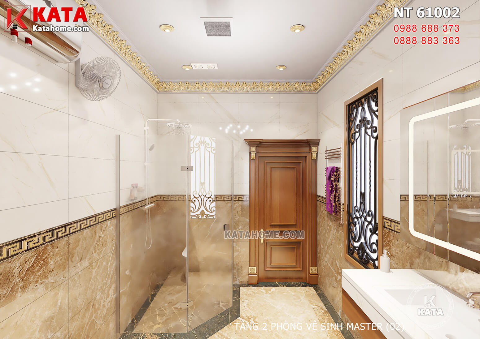 Hình ảnh: Khu vực tắm được thiết kế vách ngăn kính chắn bẩn, chắn nước bắn sang các không gian khác