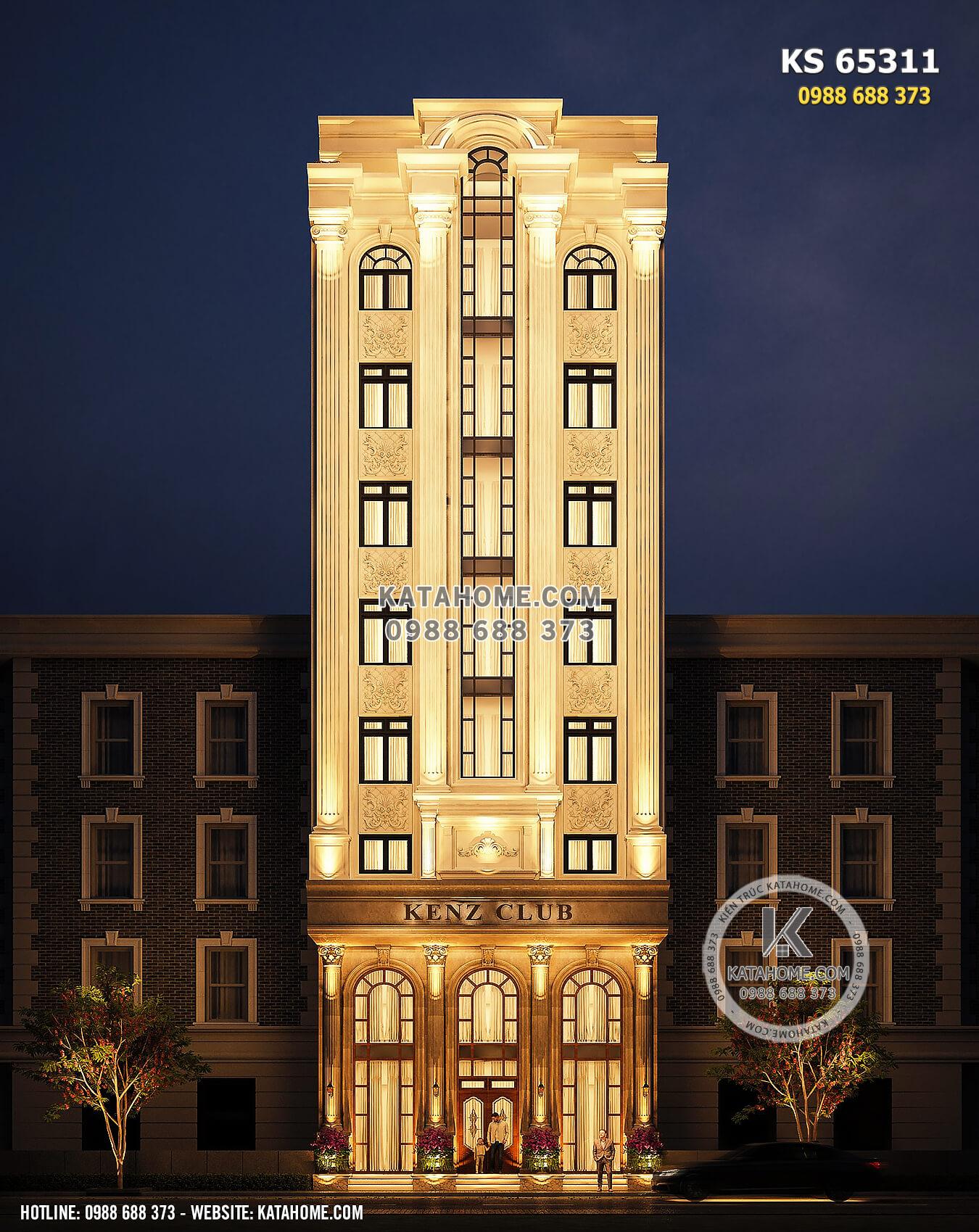 Hình ảnh: Không gian mặt tiền của mẫu thiết kế khách sạn tân cổ điển 2 sao