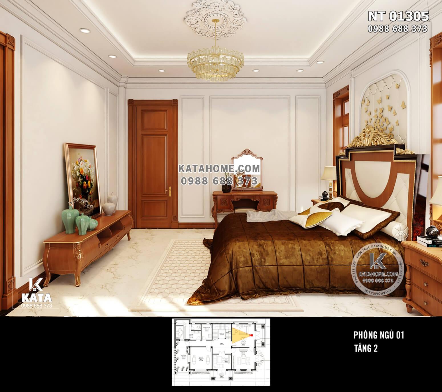 Hình ảnh: Không gian phòng ngủ được cấp đủ ảnh sáng nhờ hệ thống cửa sổ bằng kính khung gỗ